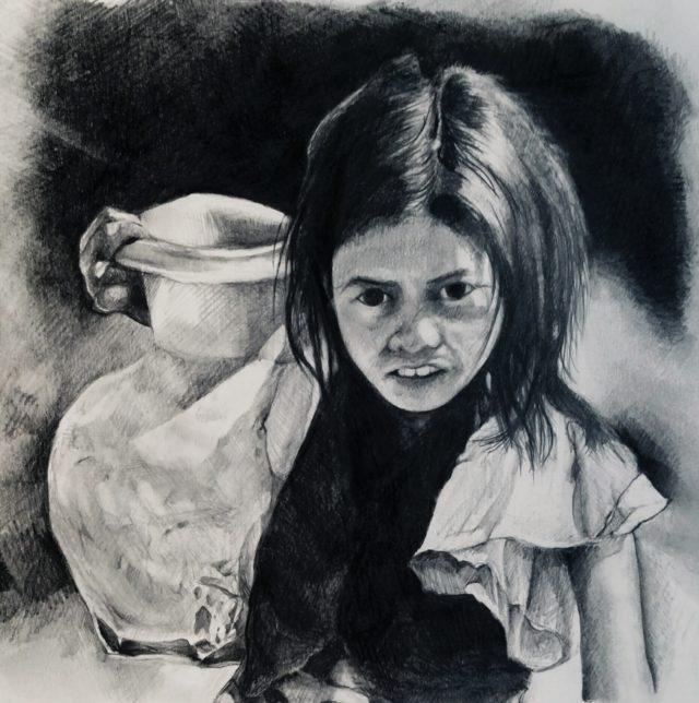 水瓶をもつ少女